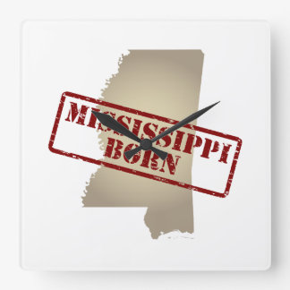 Mississippi Born - Stamp on Map Square Wallclock
