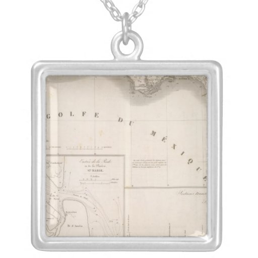Mississippi canal delta square pendant necklace