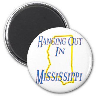 Mississippi - colgando hacia fuera imán redondo 5 cm