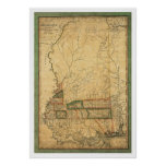 Mississippi Early Map by Melish 1820 Posters