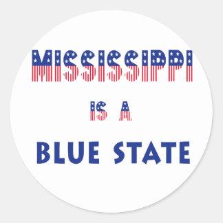 Mississippi es un estado azul pegatina redonda