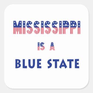 Mississippi es un estado azul calcomanias cuadradas