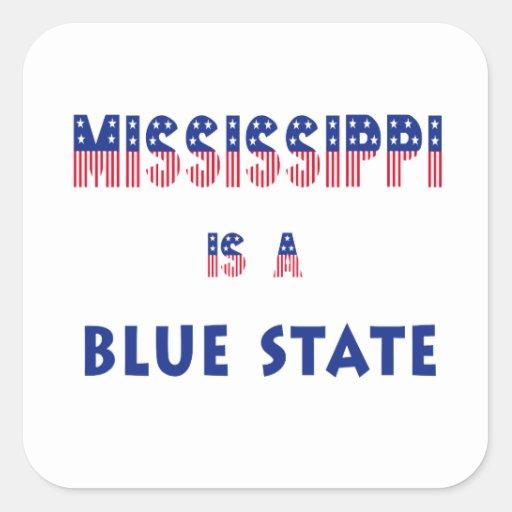 Mississippi es un estado azul pegatina cuadrada