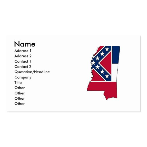 Mississippi Flag Map Business Card Template