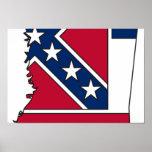 Mississippi Flag Map Poster