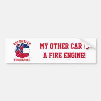 Mississippi Flag Volunteer Firefighter Cross Bumper Sticker