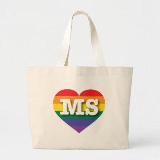 Mississippi Gay Pride Rainbow Heart - Big Love Large Tote Bag