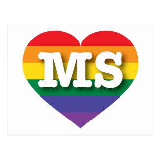 Mississippi Gay Pride Rainbow Heart - Big Love Postcard