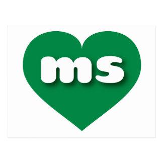 Mississippi green heart - mini love postcard