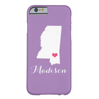 Mississippi Heart Lilac Custom Monogram Barely There iPhone 6 Case