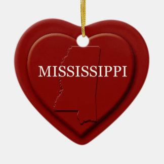 Mississippi Heart Map Christmas Ornament