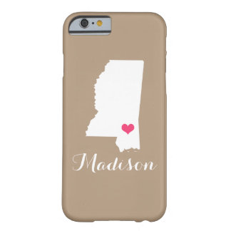Mississippi Heart Mocha Brown Custom Monogram Barely There iPhone 6 Case