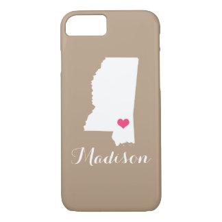 Mississippi Heart Mocha Brown Custom Monogram iPhone 7 Case