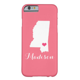 Mississippi Heart Pink Custom Monogram Barely There iPhone 6 Case