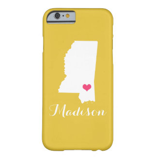 Mississippi Heart Yellow Custom Monogram Barely There iPhone 6 Case