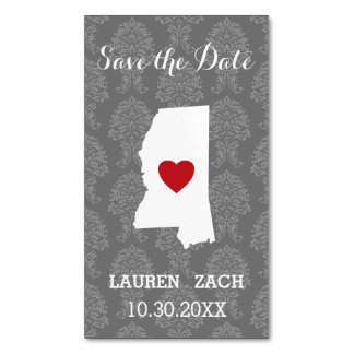 Mississippi Home State City Wedding Save the Date Magnetic Business Card