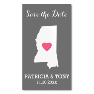 Mississippi Home State Love with Custom Heart Business Card Magnet
