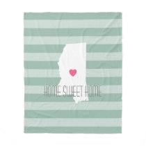 Mississippi Home State Love with Custom Heart Fleece Blanket