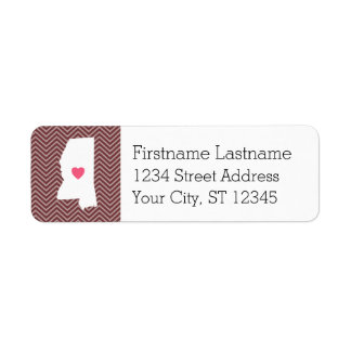 Mississippi Home State Love with Custom Heart Label