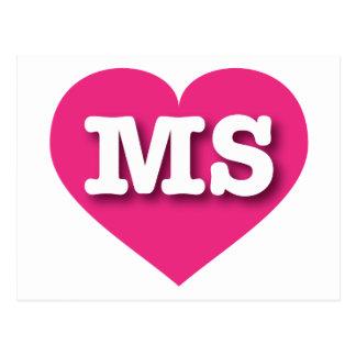 Mississippi Hot Pink Heart - Big Love Postcard