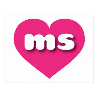 Mississippi hot pink heart - mini love postcard