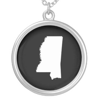 Mississippi in White and Black Round Pendant Necklace