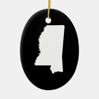 Mississippi in White and Black Double-Sided Oval Ceramic Christmas Ornament