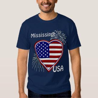 Mississippi July 4th Fireworks Heart Flag Navy T-shirt