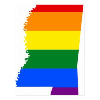 Mississippi LGBT Flag Map Postcard