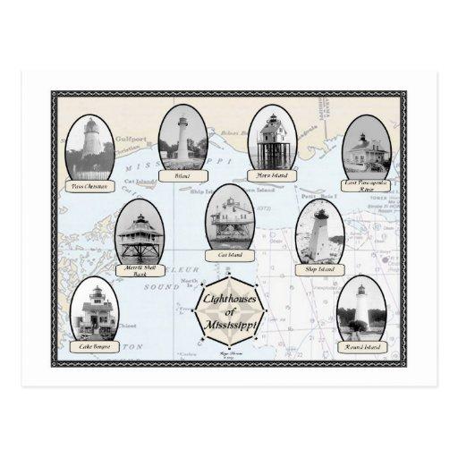 Mississippi Lighthouses Postcards