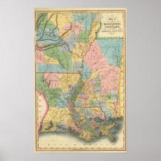Mississippi, Louisiana, Arkansas Poster