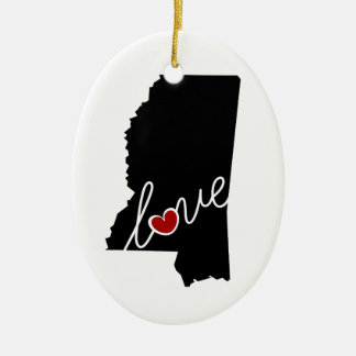 Mississippi Love!  Gifts for MS Lovers Ceramic Ornament