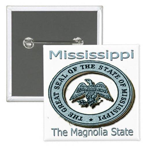 Mississippi Magnolia State Seal 2 Inch Square Button