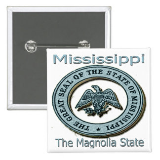 Mississippi Magnolia State Seal Pinback Buttons