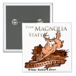 Mississippi Magnolia State White Tailed Deer 2 Inch Square Button