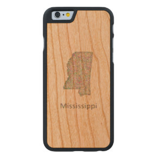 Mississippi map carved cherry iPhone 6 slim case