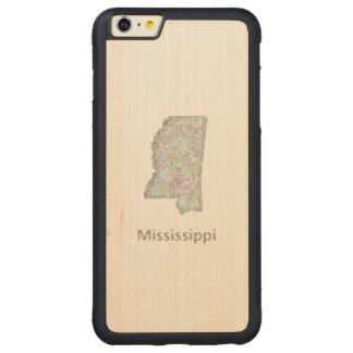 Mississippi map carved maple iPhone 6 plus bumper case
