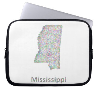 Mississippi map laptop computer sleeve