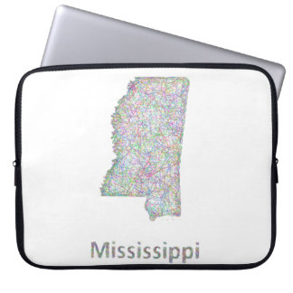 Mississippi map laptop computer sleeves