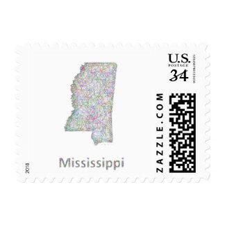Mississippi map postage