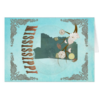 Mississippi Map With Lovely Birds Card