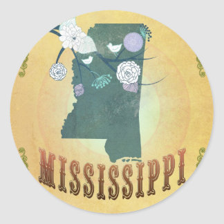 Mississippi Map With Lovely Birds Classic Round Sticker