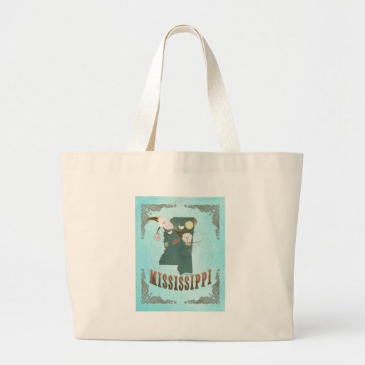 Mississippi Map With Lovely Birds Jumbo Tote Bag