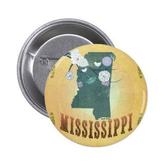 Mississippi Map With Lovely Birds Pinback Buttons