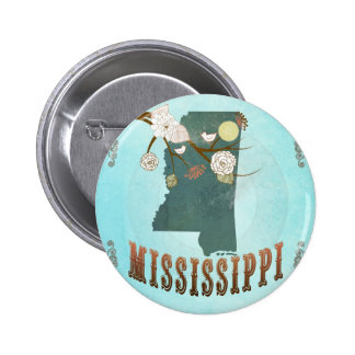 Mississippi Map With Lovely Birds Pins
