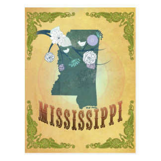 Mississippi Map With Lovely Birds Postcard
