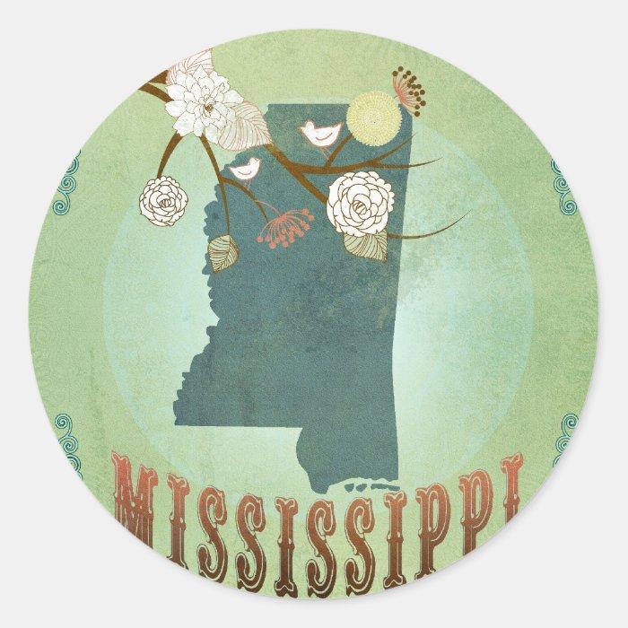 Mississippi Modern Vintage State Map – Green Classic Round Sticker