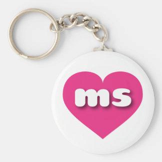 Mississippi ms hot pink heart basic round button keychain