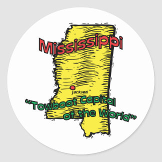 Mississippi MS  Motto ~ Towboat Capital of World Classic Round Sticker