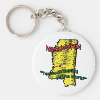Mississippi MS  Motto ~ Towboat Capital of World Basic Round Button Keychain